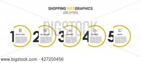 Concept Of Shopping Process With 5 Successive Steps. Five Colorful Graphic Elements. Timeline Design