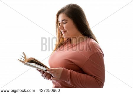 Reading Hobby. Intelligence Chill. Peaceful Leisure. Body Positive. Joyful Relaxed Obese Overweight