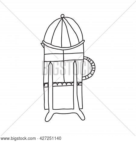 Hand Drawn Doodle Cartoon Black And White Vector Illustration Of French Press Coffee Pot Used For Br