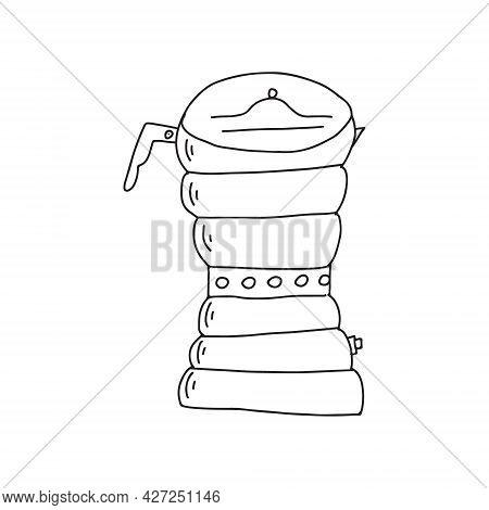 Hand Drawn Doodle Vector Illustration Of Moka Percolator Coffee Pot For Brewing Hot Espresso Coffee.