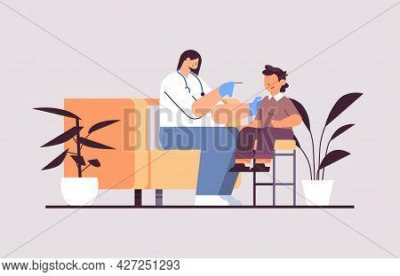 Female Doctor Taking Swab Test For Coronavirus Sample From Little Boy Patient Pcr Diagnostic Procedu
