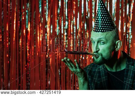 Event Company. Funny Man. Birthday Celebration. Night Club Party. Happy Bearded Guy Wearing Festive