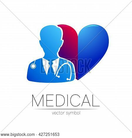 Doctor Surgeon Vector Logotype In Blue Color. Silhouette Medical Cardiologist Man. Logo For Clinic,