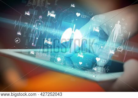 Close-up of a touchscreen with healthcare icons