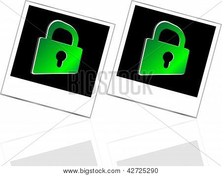 Set Of Empty Photos And Green Padlock On Abstract White Background