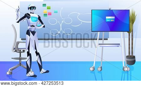 Robot Making Presentation Robotic Businessperson Working In Office Artificial Intelligence Technolog