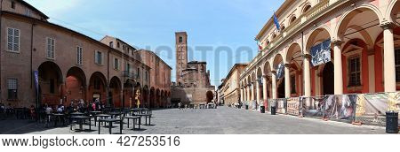 Bologna - Italy - July 19, 2021: Panoramic View Of Piazza Verdi In Old Bologna City Center. Italy