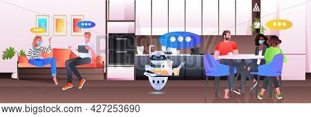 Modern Robot Waiter Serving Food To Businesspeople In Office Artificial Intelligence Technology Conc