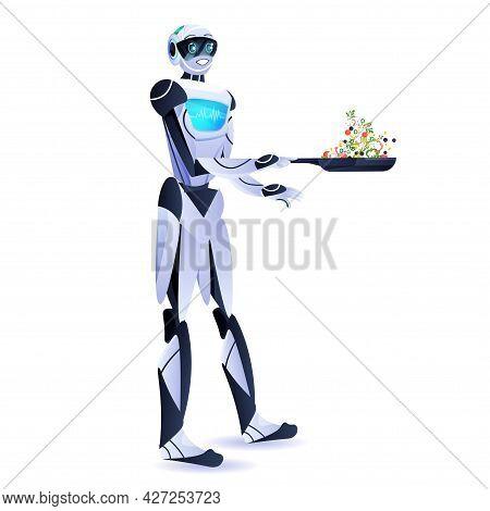 Modern Robot Preparing Healthy Vegetables Salad Artificial Intelligence Technology Concept