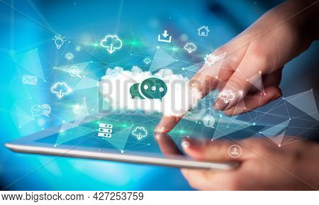 Close-up of a touchscreen with technology icons