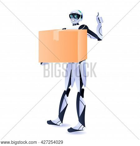 Modern Robot Courier Robotic Deliver Holding Cardboard Box Delivery Service Artificial Intelligence