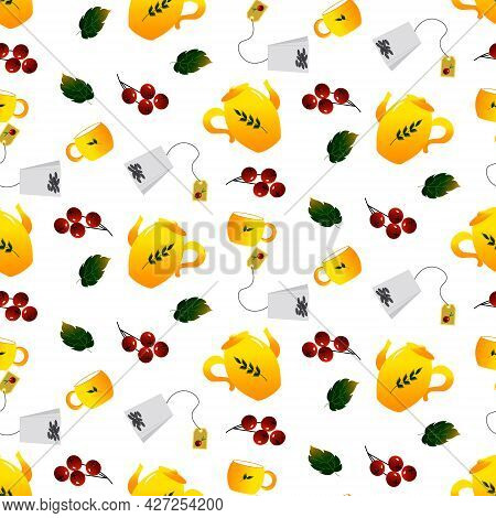 Pattern With A Yellow Teapot And A Cup. Tea Ceremony. Vector Illustration. For Menus, Cafes, Wrappin