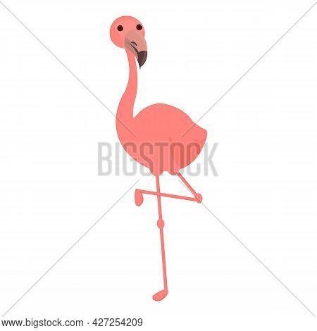 Flamingo Icon Cartoon Vector. Pink Bird. Tropical Flamingo