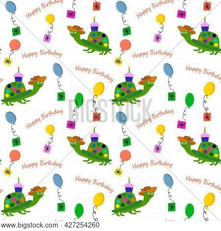 Pattern With A Turtle And Balloons. Happy Birthday Illustration. Vector Drawing. For Wrapping Paper,
