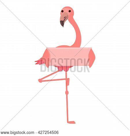 Flamingo Banner Icon Cartoon Vector. Pink Zoo Bird. Tropical Flamingo
