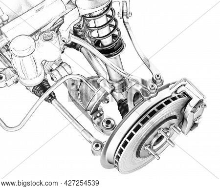 3d Illustration Draft Sketch Of The Front Suspension Of The Car, Remmore With A Shock Absorber And B