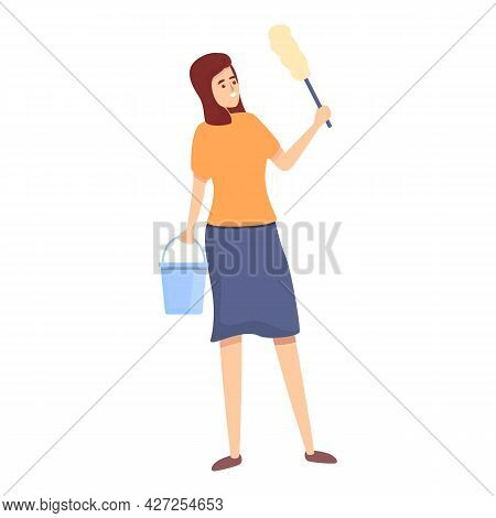 Woman Cleaning Icon Cartoon Vector. Home Housewife. Busy Household Clean