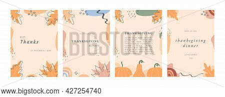 Set Of Trendy Abstract Thanksgiving Templates. Invitation Cards With Leaves, Pumpkins, Geometric Sha