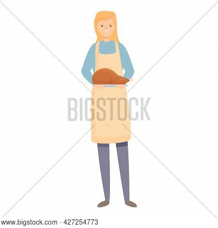 Chicken Cook Icon Cartoon Vector. Woman Kitchen. Housewife Food