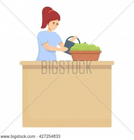 Fower Pot Care Icon Cartoon Vector. Woman Housewife. Household Work