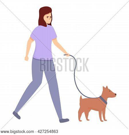 Housewife Walking Dog Icon Cartoon Vector. Mom Multitasking. Home Housework