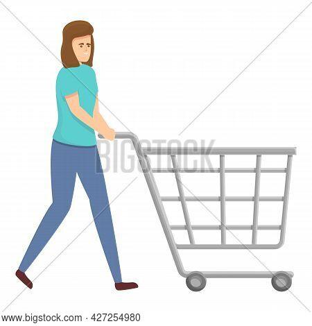 Housewife Shop Cart Icon Cartoon Vector. Woman Household. House Multitask