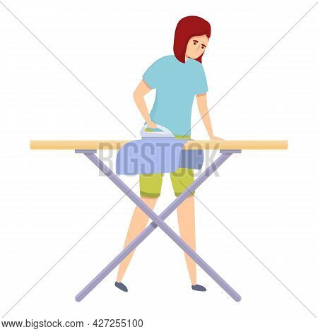 Mom Ironing Board Icon Cartoon Vector. Woman Housewife. Home Housework