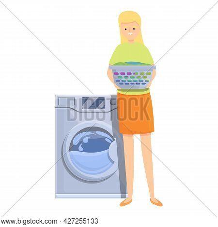 Mom Wash Machine Icon Cartoon Vector. Woman Housewife. Home Kitchen