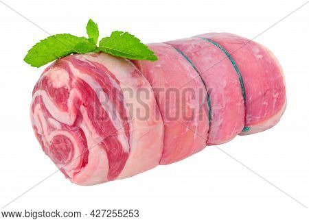 Raw Rolled Lamb Breast Meat Isolated On A White Background