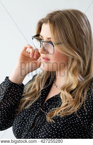 Obese Model Portrait. Body Positive. Female Confidence Self-acceptance. Profile Of Smart Confident E