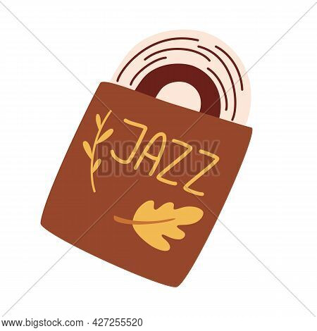 Jazz Record. Musical Vinyl Record In An Envelope. Retro Style. Music Item. Musical Vector Illustrati