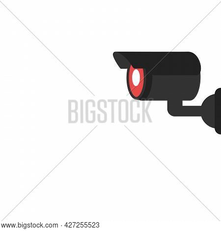 Security Camera Icon. Black And White Silhouette Of A Surveillance Camera. Vector Illustration On A