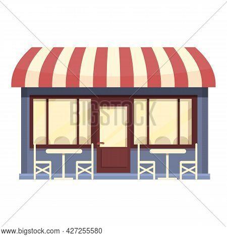 Street Coffee Cafe Icon Cartoon Vector. Restaurant Shop. Cafeteria Drink