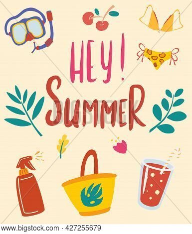 Hello Summer. Summer Card With Inscription. Items For Beach Holidays, Underwater Mask, Cocktails And