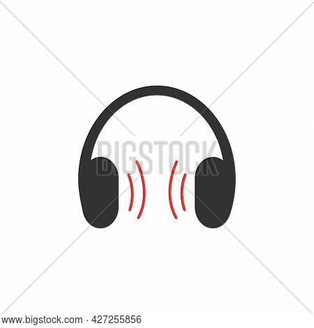 Headphones Icon, Stock Vector Illustration Flat Design Style. Vector Illustration On White Backgroun