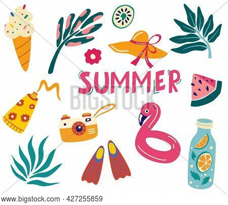 Set Of Cute Summer Icons: Tropical Leaves, Drinks, Ice Cream, Flamingo, Fins, Camera, Sunscreen. Sum