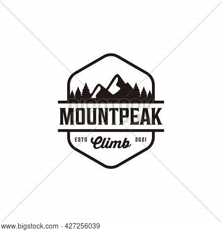 Vintage Adventure Badge Mountain Travel Climb Hill Camp Logo Design. Logo Can Be Used For Icon, Bran