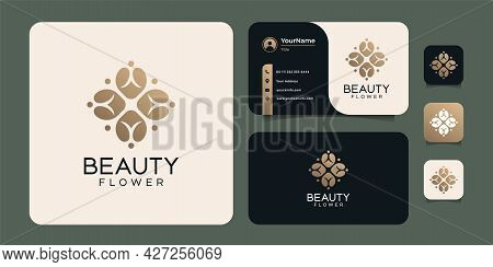Hand Drawn Beauty Feminine And Modern Flower Template Logo Set. Logo Can Be Used For Icon, Brand, Id