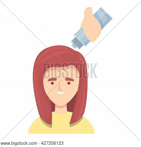 Red Hair Colouring Icon Cartoon Vector. Woman Color. Girl Long Hairstyle