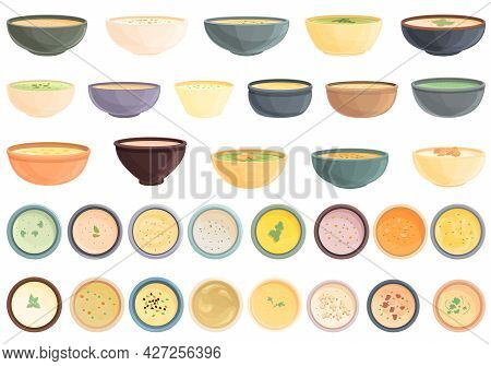Cream Soup Icons Set Cartoon Vector. Meat Bowl. Soup Food Dish