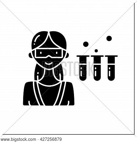 Scientist Woman Glyph Icon. Female Chemist In Coat With Test Tubes. Having Chemical Reagents. Danger