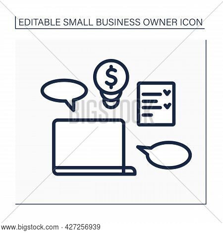 Laptop Line Icon. Coaching. Checklist. Equipment For Coach. Online Courses. Small Business Owner Con
