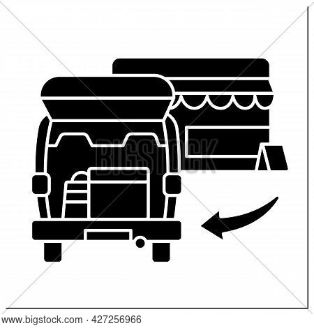 Curbside Pickup Glyph Icon.shipping Box Into Vehicle Trunk. Order And Delivery. Contact-free Deliver