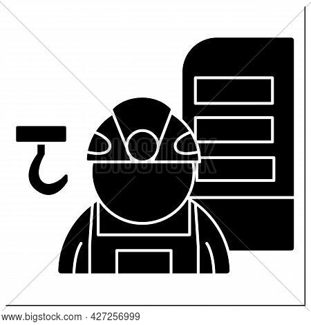 Structural Engineer Glyph Icon. Engineer Analyze, Design, Plan, And Research Structural Components T