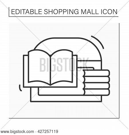Bookstore Line Icon. Store With Different Trendy, Classical And Modern Books. Buyer Can Sell Culinar