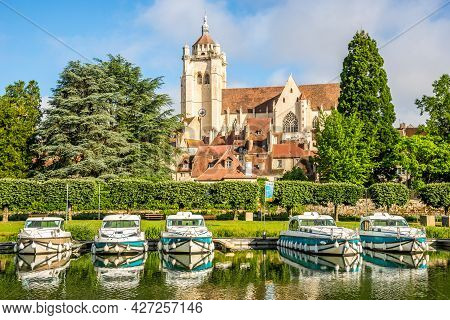 Dole, France - June 21,2021 - View At The Church Of Notre Dame In Dole Town. Dole Is Located On The