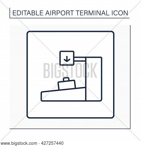 Bag Drop Line Icon. Self-service, Check-in Desk.pointer. Conveyor Belt, For Left Tagged Baggage.airp