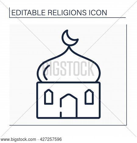 Islam Line Icon. Main Temple In Muslim Culture. Traditional Place Of Worship In Islam. Crescent Musl
