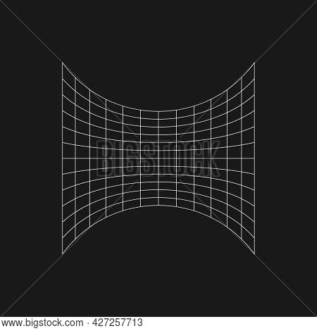 Retro Futuristic Laterally Compressed Grid In The Center. Cyber Design Element. Grid In Cyberpunk 80