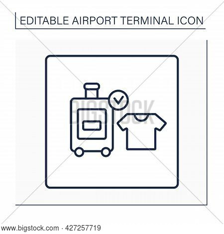 Baggage Registration Line Icon.check-in For Dangerous Things, Weight Bags. Size And Number, Dependen